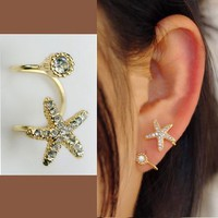 Round Rhinestone Ear Cuff (Single, No Piercing)