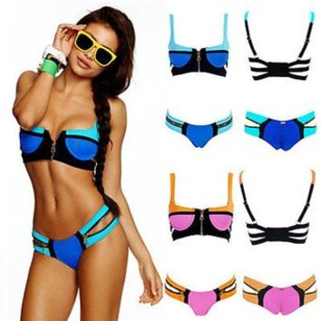 PrettyGirl Women's Bandage Bikini Set Push-up Padded Bra Swimsuit Bathing Suit