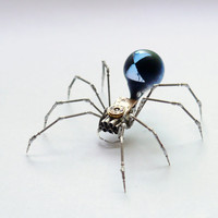 Black Widow Spider Sculpture No 58 Recycled Watch Parts Clockwork Arachnid Figurine Stems Lightbulb Arthropod A Mechanical Mind Gershenson