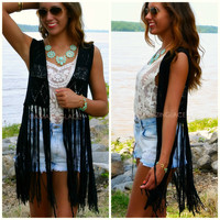 Morrison Black Crochet Fringed Vest