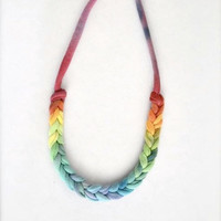 Rainbow Pride Ombre Statement Necklace by Pamplepluie on Etsy