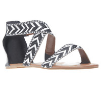 Chevron Stitched Pattern Cross Strap Sandals | Wet Seal