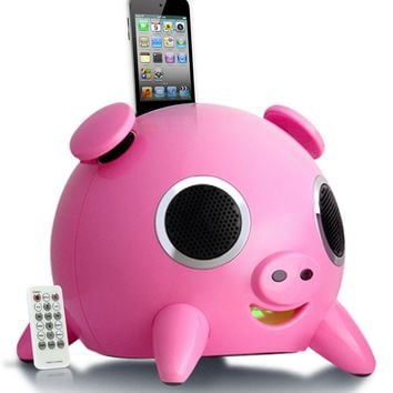 Speakal iHog Pig 2.1 Stereo Docking Station and Speaker System with Rechargeable Battery for iPhone and iPod (Pink)