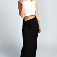 Gwyn Gathered Side Open Front Maxi Skirt