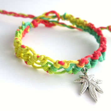 Rasta Hemp Bracelet Pot Leaf Charm Cannabis Bracelet Macrame Ecofriendly Jewelry Unisex