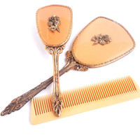 Vintage Vanity Set  Golden Hair Brush Hand by MaejeanVINTAGE