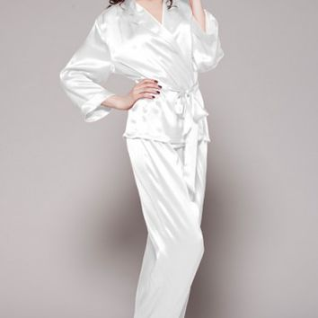 22 Momme Fold Over Classic Silk Pajama Set