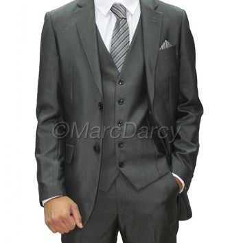 Mens Charcoal/Dk Grey Three Piece Suit (Rocky)