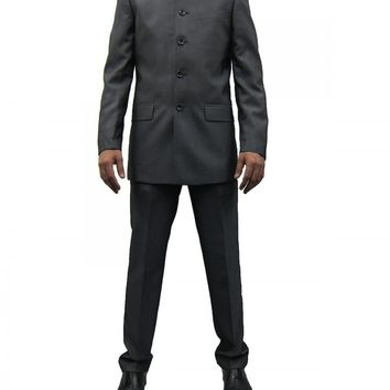 Mens Midgrey Grandad Collar two Piece Suit ideal for weddings (Nehru)