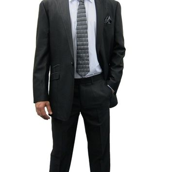 Mens Black Shiny two Piece Slim fit Suit ideal for weddings (Kent)