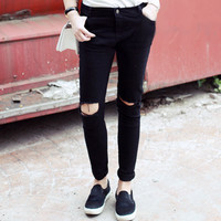 EDAN Black Torn Knee Jeans