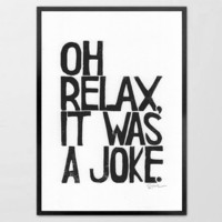LINOCUT PRINT Relax It was a Joke Linoleum by typogy on Etsy