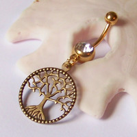 Gold Belly Button Ring - Belly Button Jewelry - Navel Piercing - Gold Tree of Life Charm