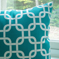 Turquoise Lumbar Pillow Cover Gotcha Decorative Couch Pillows 12x16