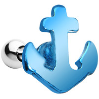 16 Gauge Brilliant Blue Nicely Nautical Anchor Cartilage Stud Earring | Body Candy Body Jewelry