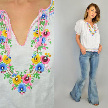 HAND EMBROIDERED vtg 60s bohemian hippie cropped gauze PEASANT blouse, extra small-medium