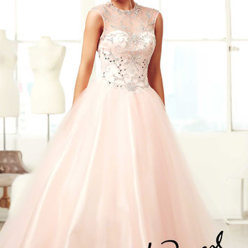 Mac Duggal 48096H - Blush Beaded Ball Gown Prom Dresses Online