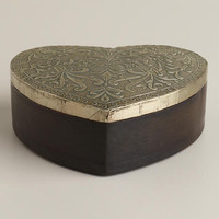 Silver-Finish Sadie Heart Jewelry Box - World Market
