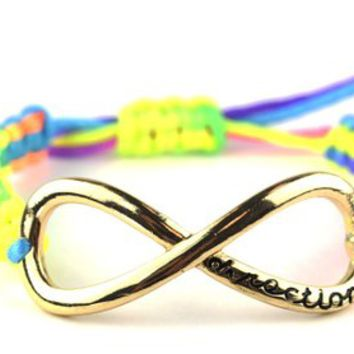 Directioner (TM) Multicolor Braided Gold Tone Infinity Fan Bracelet MB288G