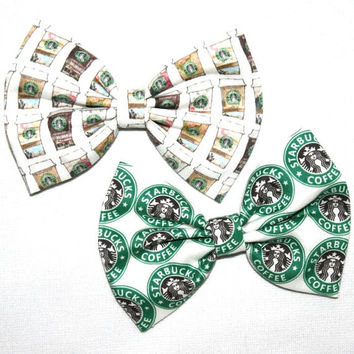 Starbucks Two Bow Pack Starbuck Logo Sign Love Of Coffee Cup Addict Pattern Print Printed Hair Clip Alligator Bow Bows For Girls Teens Women