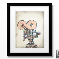 The Vintage Movie Camera in Technicolor - Art Print 8x10 or Larger