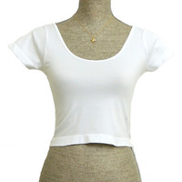 The Classic Stretch Crop Top - White - One