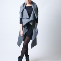 High Collar Coat Asymmetrical Vest with Zipper / Wool Sleeveless Vest /  Designer Coat - Model16-2