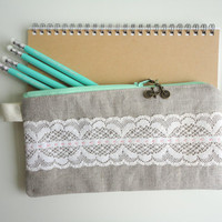 Pencil Case with Vintage Lace and Bike Zipper Pull by handmadephilosophy