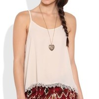 Deep V Back Tank Top with Crochet Trim
