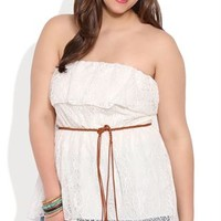 Plus Size High Low Crochet Ruffled Lace Tube Top with Belted Waist