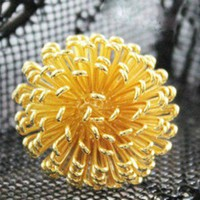 Golden Dandelion Spring Summertime Adjustable Ring | christinepurr - Jewelry on ArtFire