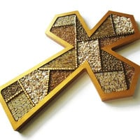 Decorative Cross abstract beaded mosaic cross in gold tones with crushed sea shells, contemporary cross, gold cross, wall cross