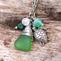 Sea Turtle Jewelry from Hawaii Sea Glass Necklace with Gemstones Hawaiian Jewelry Honu Charm Necklace made in Hawaii Seaglass Jewelry