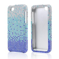 Blue/ Turquoise Waterfall on Silver Gems Bling Hard Case for Apple iPhone 5C