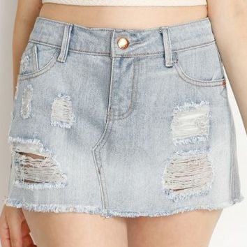 Light Denim Distressed Mini Skirt
