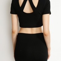 Black Cutout Back Crop Top