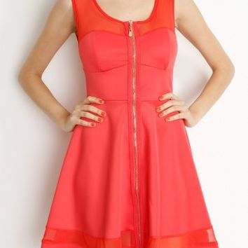 Coral Sleeveless Mesh Skater Dress