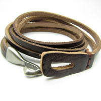 Brown Leather with Alloy Hasp Buckle Women's by braceletcool