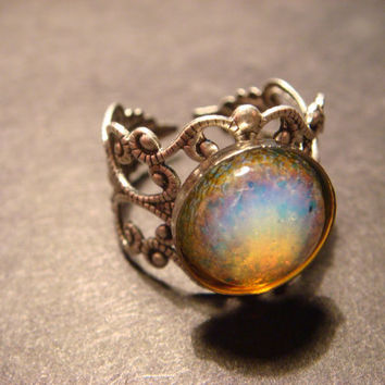 Antique Silver Simulated Fire Opal Filigree by CreepyCreationz