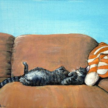 Sleeping Cat Painting by Anastasiya Malakhova - Sleeping Cat Fine Art Prints and Posters for Sale