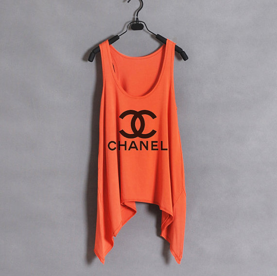 Classic Chanel  Women Tank Top  Orange  Sides Drop by zzzAfternoon
