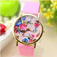 New Fashion Leather Geneva Rose Flower Dress Watches for Women Pink Color