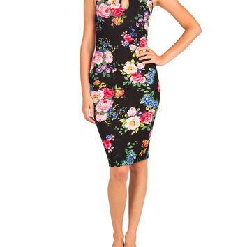 Textured Racer Front Floral Midi Dress