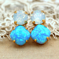 Opal Blue white crystal stud earrings,Swarovski earrings bridesmaids earrings - 14 k Gold plated stud earrings swarovski rhinestones