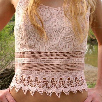Love Me In Lace Top: Rose