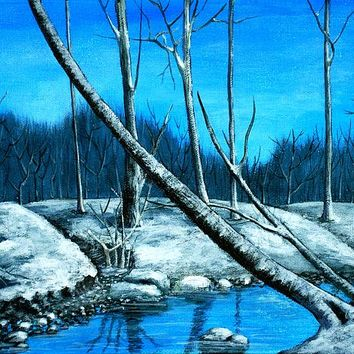 Blue Winter Painting by Anastasiya Malakhova - Blue Winter Fine Art Prints and Posters for Sale