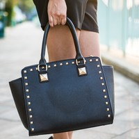 Studded Structured Satchel in Black