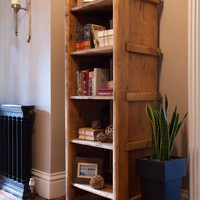 Rustic Open Book Shelves - Rose &amp; Grey, Vintage Leather Sofas and Stylish Accessories