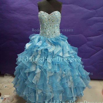 Pretty Ball Gown Prom Dresses/Blue Prom Dresses/Prom 2014/Wedding Party Dresses/Quinceanera Dress