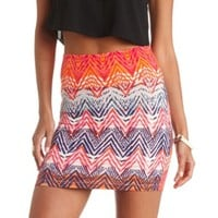 ABSTRACT CHEVRON PRINT BODYCON MINI SKIRT